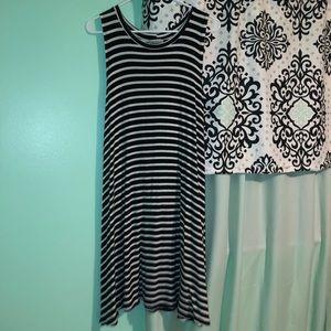 Black and white striped tank top dress